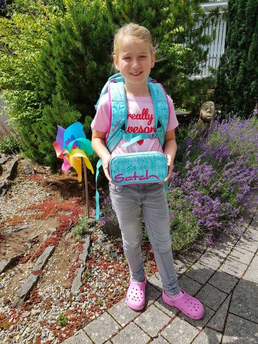 Muriel 7 Jahre Gewinner eines Schulrucksack - Aktion 2020