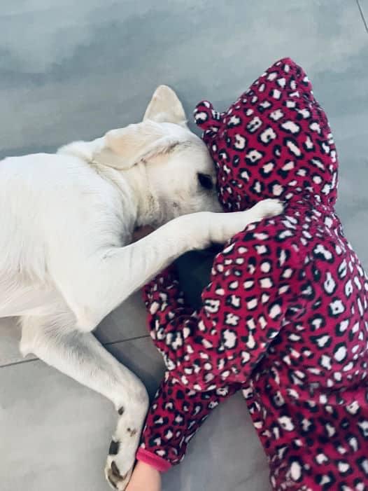 Tessa kuschelt mit Cosmo